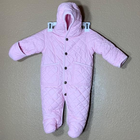 Ralph Lauren baby girl pink quilted snowsuit